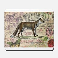 Fox Vintage Animal Collage Mousepad