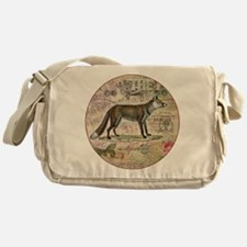 Fox Vintage Animal Collage Messenger Bag