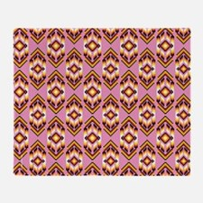Native American Design Pink Throw Blanket