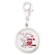 Owl Always Love You Silver Round Charm