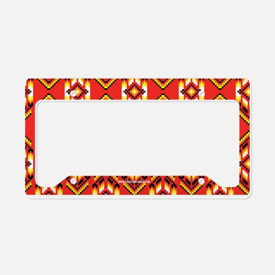 Native American Design Fire License Plate Holder