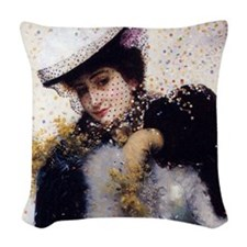 Vintage Winter Bride Woven Throw Pillow