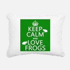 Keep Calm and Love Frogs Rectangular Canvas Pillow