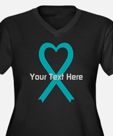 Personalized Teal Ribbon Heart Plus Size T-Shirt