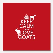 """Keep Calm and Love Goats Square Car Magnet 3"""" x 3"""""""