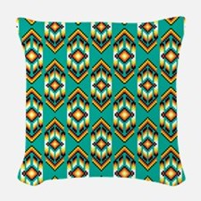 Native American Design Turquoise Woven Throw Pillo