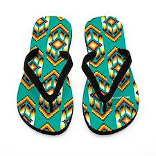 Native American Design Turquoise Flip Flops
