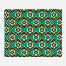 Native American Design Turquoise Throw Blanket