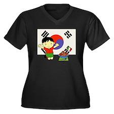 Kortalian Women's Plus Size V-Neck Dark T-Shirt