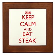 Keep calm and eat Steak Framed Tile