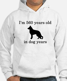 80 birthday dog years german shepherd black Hoodie