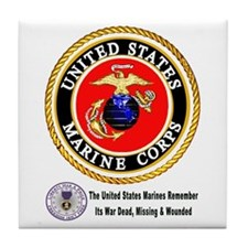 The Marine Corps Remembers! Tile Coaster