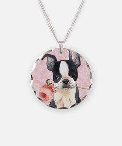 Boston Terrier Rose Necklace