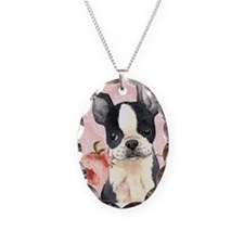 Boston Terrier Rose Necklace Oval Charm