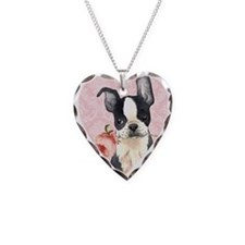 Boston Terrier Rose Necklace Heart Charm
