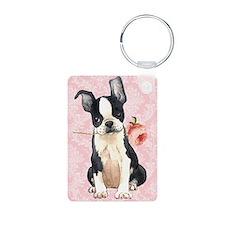Boston Terrier Rose Keychains