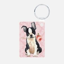 Boston Terrier Rose Keychains