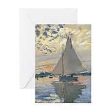 Monet Sailboat French Impressionist Greeting Cards