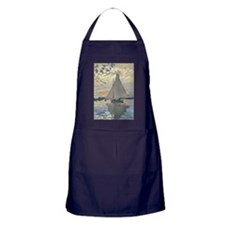 Monet Sailboat French Impressionist Apron (dark)