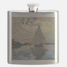 Monet Sailboat French Impressionist Flask