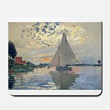 Monet Sailboat French Impressionist Mousepad