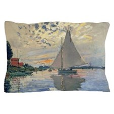Monet Sailboat French Impressionist Pillow Case