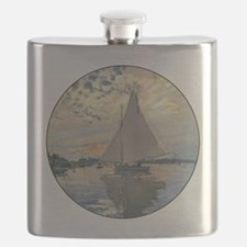 Monet Sailboat French Impressionist Flask