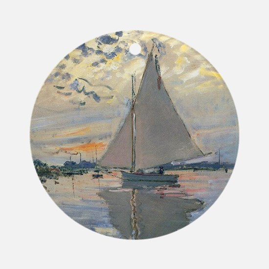 Monet Sailboat French Impressionist Ornament (Roun
