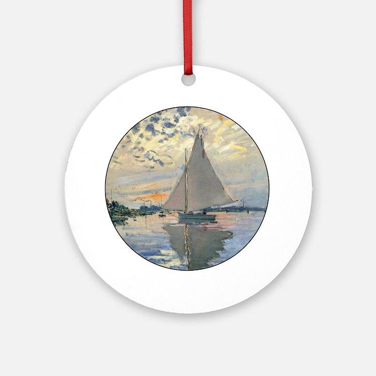 Monet Sailboat French Impressionist Ornament (Roun