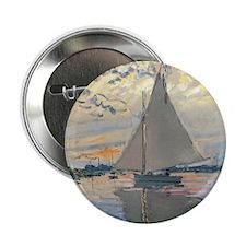 "Monet Sailboat French Impressionist 2.25"" Button ("
