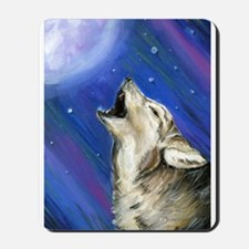 Wolf and Full Moon Mousepad
