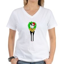 JINGLE MY BELLS WOMENS WHITE V NECK TEE