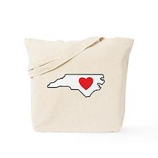 North Carolina LOVE State Outline Tote Bag