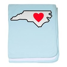 North Carolina LOVE State Outline baby blanket