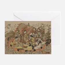 Seven Gods Of Good Fortune In The Tr Greeting Card