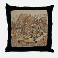 Seven Gods Of Good Fortune In The Tre Throw Pillow