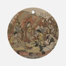 Seven Gods Of Good Fortune In The T Round Ornament