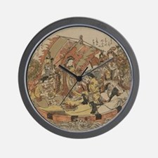 Seven Gods Of Good Fortune In The Treas Wall Clock