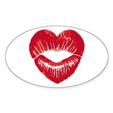 Heart shaped red lips, lipstick trace, kiss Sticke