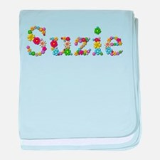 Suzie Bright Flowers baby blanket