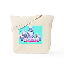 Kart Racer with blue Background Tote Bag