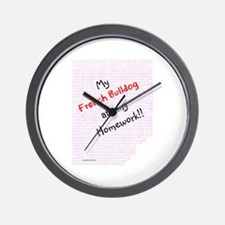 Frenchie Homework Wall Clock