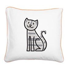 Gold Tabby Cat Square Canvas Pillow