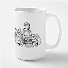 Kart Racer Pencil Sketch Mugs