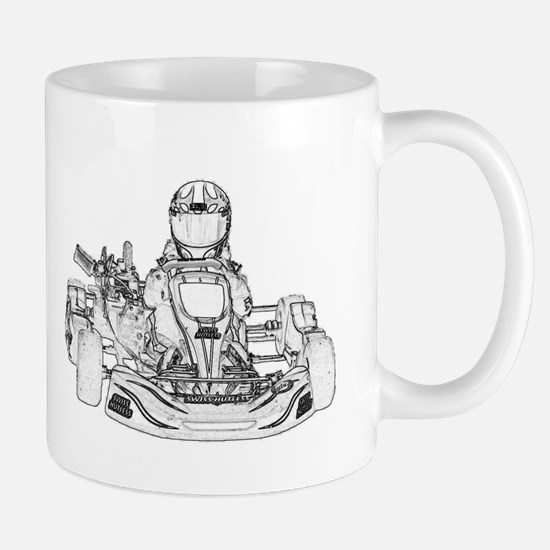 Kart Racer Pencil Sketch Mugs