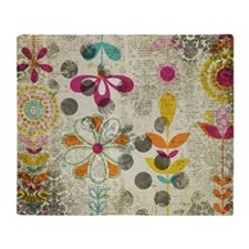 Bohemian Boho Flowers Throw Blanket