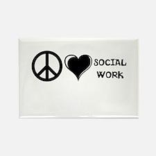 Peace,Love,Social Work Rectangle Magnet (10 pack)