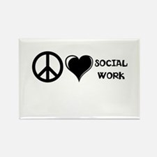 Peace,Love,Social Work Rectangle Magnet