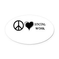Peace,Love,Social Work Oval Car Magnet