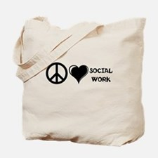Peace,Love,Social Work Tote Bag